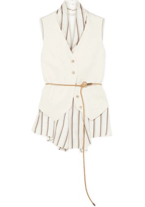 Brunello Cucinelli - Belted Layered Canvas And Striped Satin Vest - White