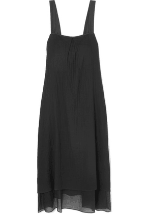 Theory - Silk-trimmed Crinkled Cotton-voile Midi Dress - Black