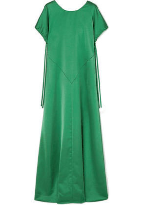 Cédric Charlier - Open-back Satin Gown - Green