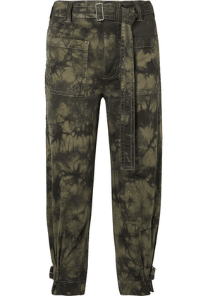 Proenza Schouler - Pswl Cropped Tie-dyed Stretch-cotton Twill Tapered Pants - Black