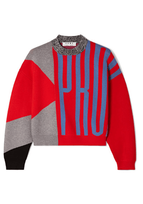 Proenza Schouler - Pswl Cropped Color-block Jacquard-knit Sweater - Red