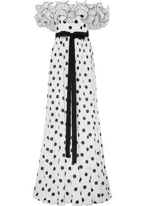Andrew Gn - Ruffled Off-the-shoulder Polka-dot Silk Crepe De Chine Gown - White