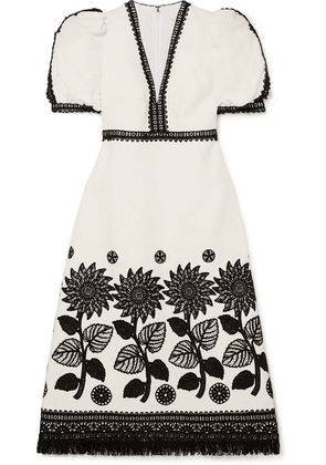 Andrew Gn - Fringed Lace-trimmed Woven Dress - White