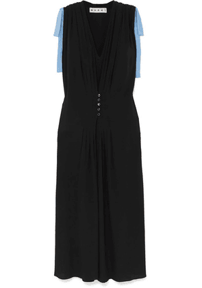 Marni - Bow-embellished Two-tone Crepe De Chine Dress - Black
