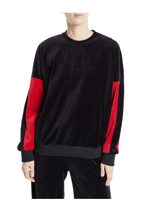 Velour Crewneck Pullover Sweater with Colorblock Sleeves