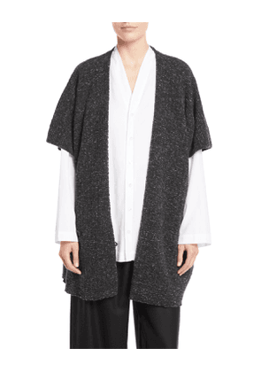 Double-Breasted Button-Front Cape Melange Cardigan