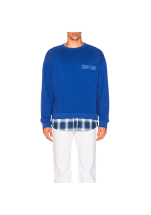 Adaptation Crewneck With Shirt Tail in Blue,Plaid