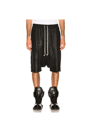 Rick Owens Leather Pod Shorts in Black