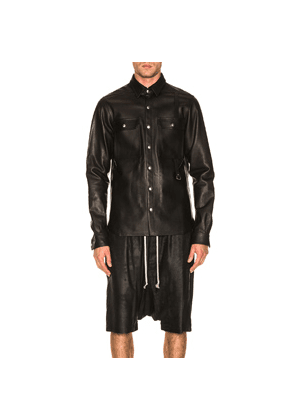Rick Owens Leather Outershirt in Black