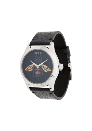 Gucci G-Timeless bee leather watch - Black