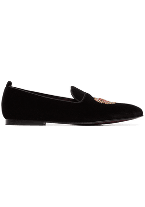 Dolce & Gabbana black and red heart embroidered velvet loafers
