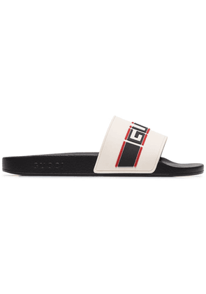 Gucci cream, black and red logo stripe rubber slides - White