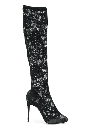 Dolce & Gabbana lace knee-length boots - Black