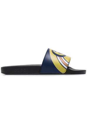 Gucci navy blue and black Gucci Pursuit logo slides
