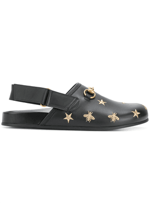 Gucci Horsebit embroidered sandals - Black