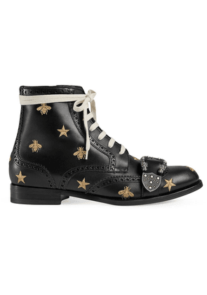 Gucci Queercore embroidered brogue boot - Black