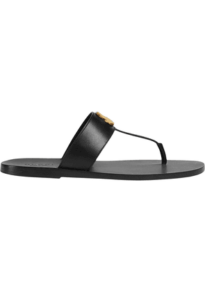 Gucci Leather thong sandal with Double G - Black
