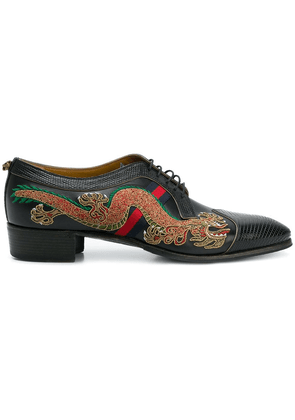 Gucci dragon-embroidered lace-up shoes - Black