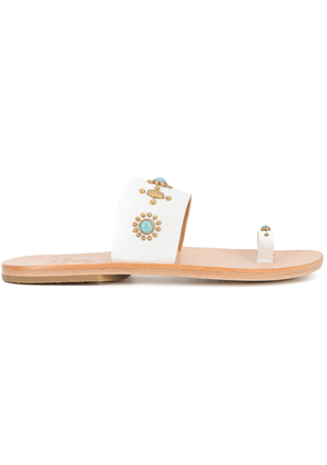 Calleen Cordero nickle and turquoise embellished sandals - White