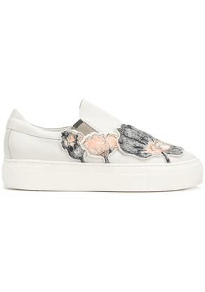 Agl sequin floral appliquéd sneakers - Neutrals