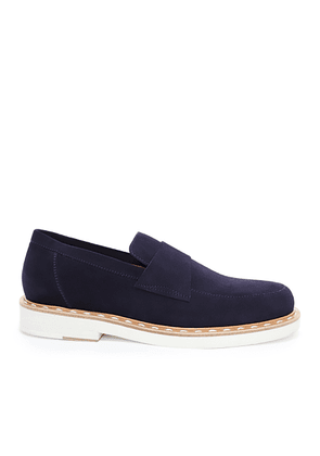 BANE Navy Dry Suede Casual Loafer with Stitched Welt Detailing