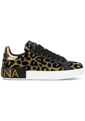 Dolce & Gabbana metallic gold, black and white leopard leather