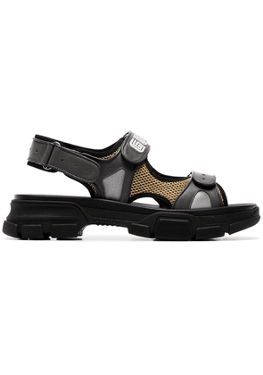 Gucci black, yellow and grey mesh and leather sandals