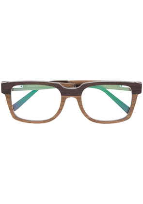 Gold And Wood square framed glasses - Brown