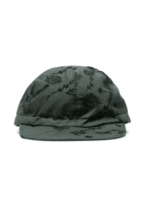 By Walid Embroidered linen baseball cap - Green