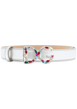 Dolce & Gabbana gemstone logo buckle belt - Metallic