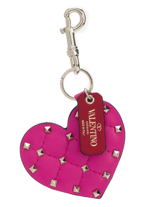 Valentino Rockstud heart key ring - Pink