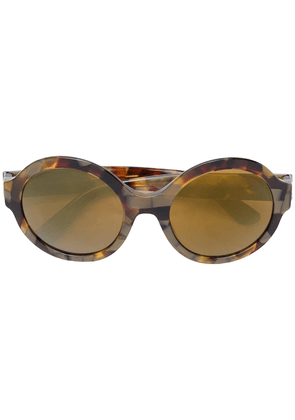 Dolce & Gabbana Eyewear oval-shaped mirrored sunglasses - Brown