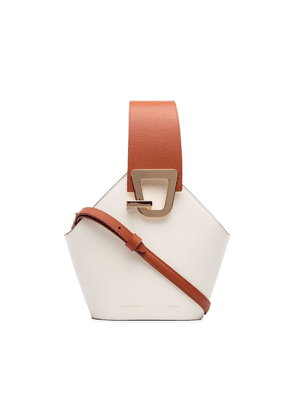 Danse Lente white and brown Johnny mini leather bucket bag