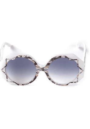 Cutler & Gross 'Pinstripe Lace' patterned sunglasses - White