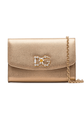 Dolce & Gabbana embellished logo crossbody bag - Metallic