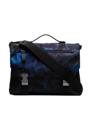 Valentino blue camo print stud detail messenger bag