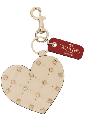 Valentino heart-shaped studded key ring - Neutrals