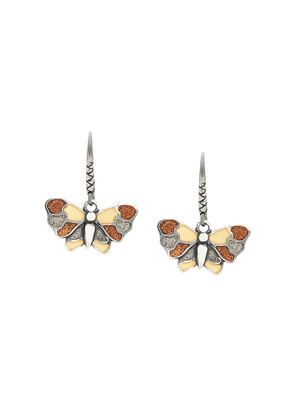 Bottega Veneta enamelled butterfly earrings - Metallic