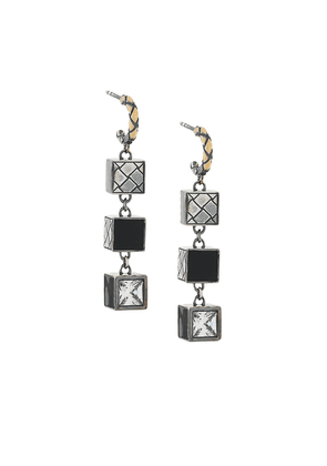 Bottega Veneta three-tier cubic earrings - Metallic