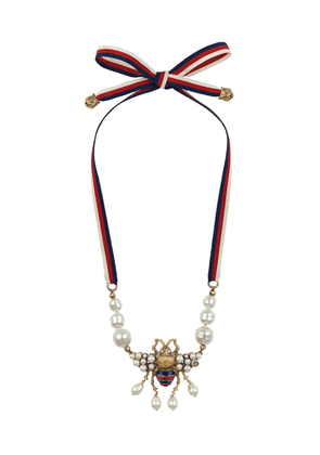 Gucci Bee necklace with crystals and pearls - Multicolour
