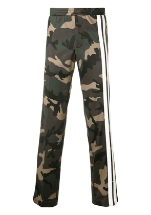 Valentino Camouflage track pants with Contrasting Side Bands - Green