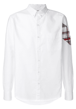 Moncler plaid patch sleeve button down shirt - White