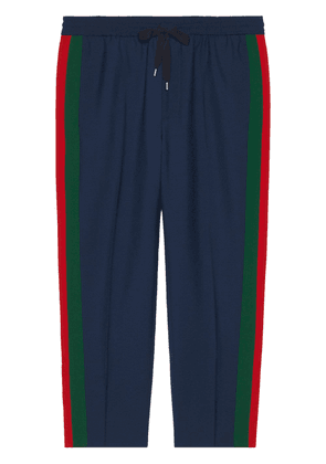 Gucci cropped trousers with stripe - Blue