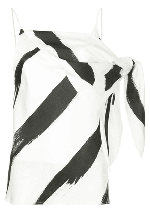 Christopher Esber painterly stripe drape detail spaghetti top - White