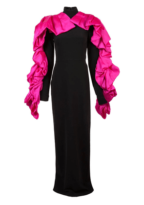Christian Siriano contrast ruffled detail gown - Black