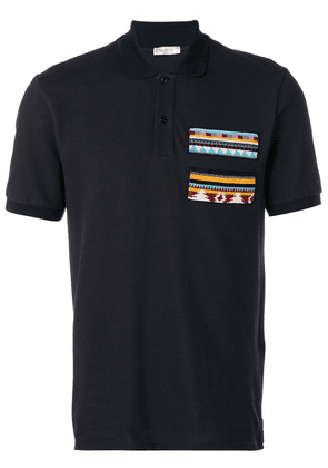 Valentino bead-embroidered patch polo shirt - Blue