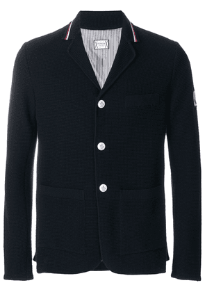 Moncler striped collar cardigan - Blue