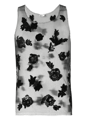 Saint Laurent embroidered net tank top - Black