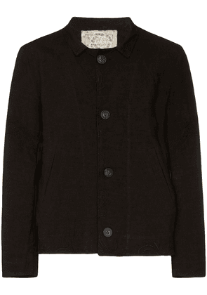By Walid 1920s embroidered murat linen jacket - Black