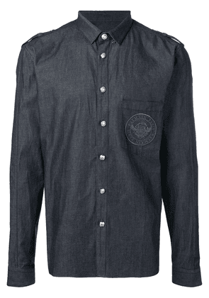 Balmain Cotton shirt with embroidered Balmain medallion - Blue